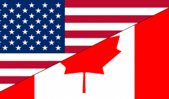 Photo of the American flag and of the Canadian flag, split diagonally.