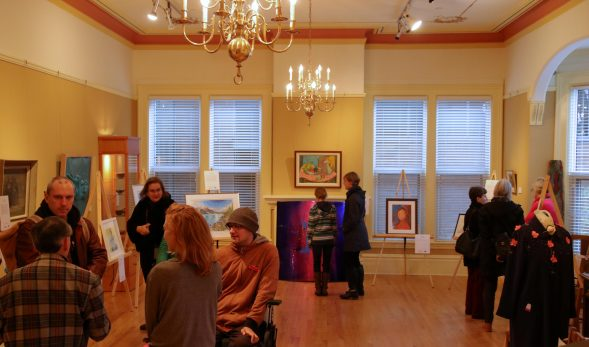 Picture of a crowd of people at the art show.