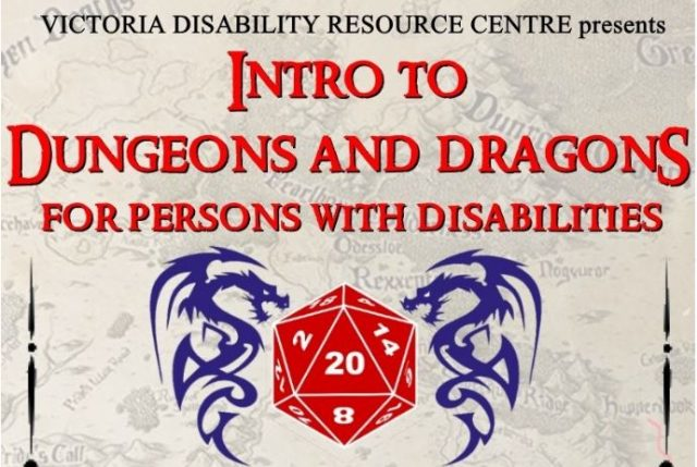 Image of two Celtic dragons on either side of a 20-sided die
