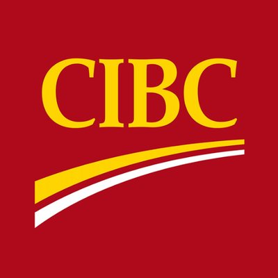 The CIBC logo, containing yellow writing on a red background with a yellow and white stripe underneath the text.