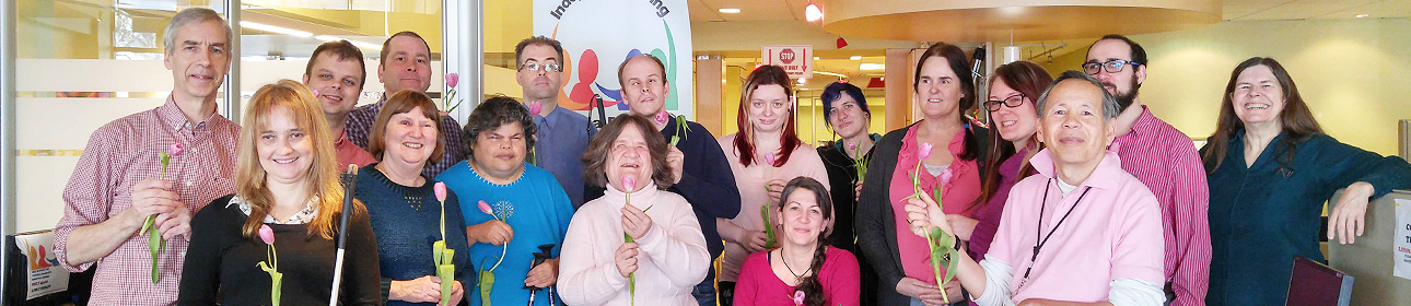 Photo of VDRC staff wearing pink in support of anti-bullying day