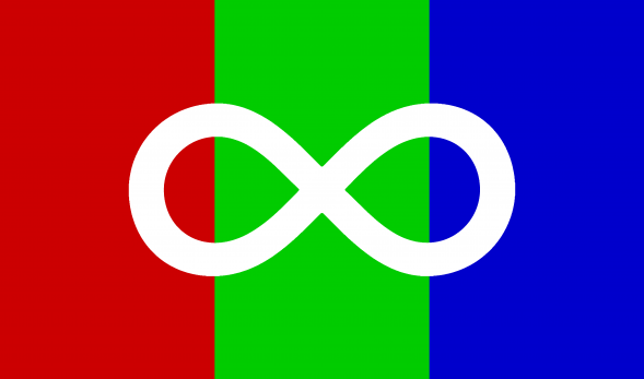 A image of the Autism Pride flag, which has three colours (from left to right: Red, Green, and Blue) with a white infinity symbol in the middle.