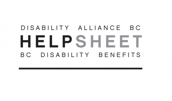 "Graphic reading ""Disability Alliance BC - HELP SHEET - BC Disability Benefits"""