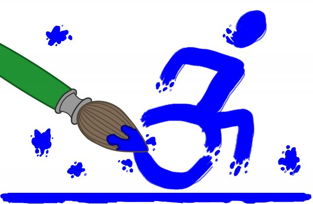 The logo for ArtAbilities, which features the new accessable living logo being painted by a cartoon paintbrush,.