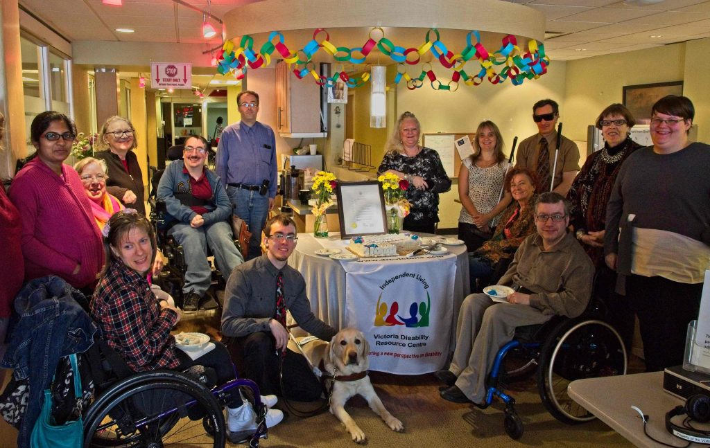 Photo of VDRC volunteers, staff and friends gathering on June 4th to celebrate Independent Living Across Canada Day