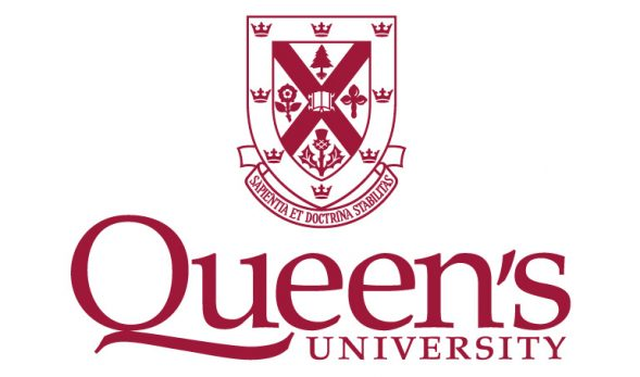 "The Queen's University logo, featuring a crest with various flora displayed on it. ""Queen's University"" is written underneath it."