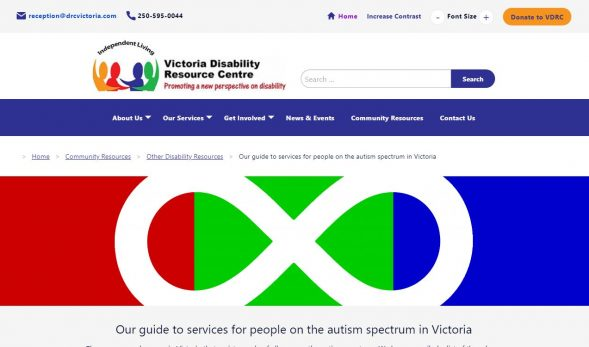 Screenshot of our website displaying the community resource about services for people on the autism spectrum.