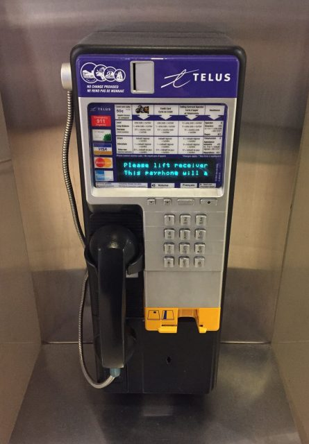 Photo of the public phone available for use in the Royal BC Museum.