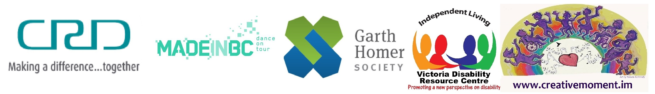 Logos of the Capital Region District, Made in BC, the Garth Homer Society, the Victoria Disability Resource Centre, and Creative Moment.