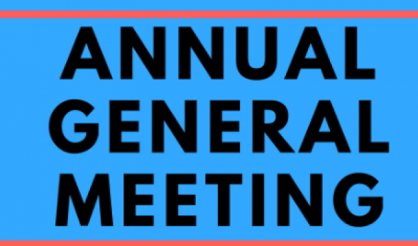 "Picture of black text on a blue background, reading ""Annual General Meeting."""
