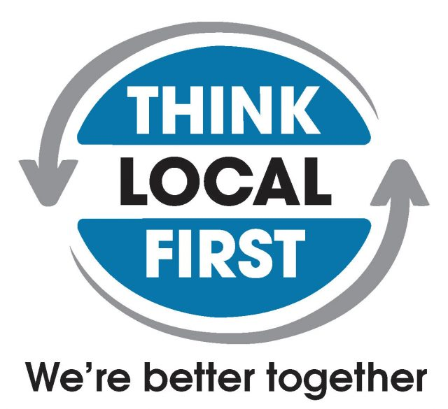 "The logo of the organization, ""Think Local First,"" subtitled, ""We're better together"""