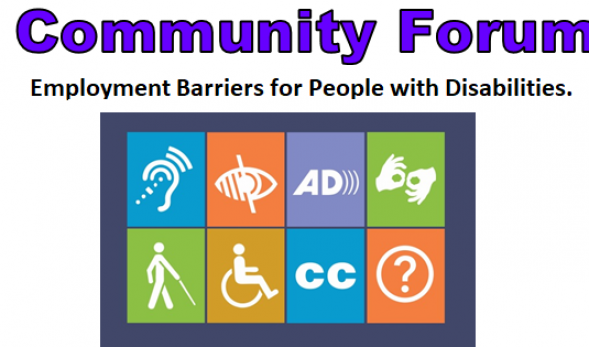 Picture with large purple text describing the Community Forum event